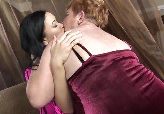 Hairy bbw granny and two lesbian